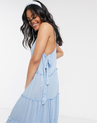 ASOS DESIGN tiered side tie maxi beach dress in cornflower blue