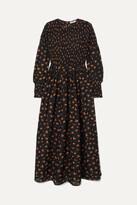 Ganni Beacon Shirred Floral-print Cotton And Silk-blend Maxi Dress