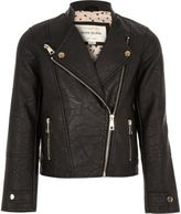 River Island Girls black leather look biker jacket
