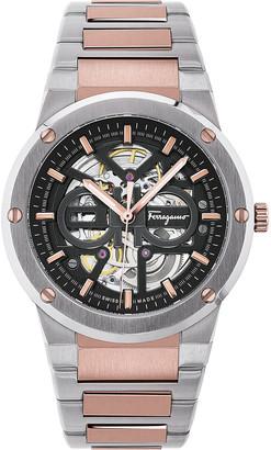 Salvatore Ferragamo Men's 40mm Skeleton Two-Tone Bracelet Watch