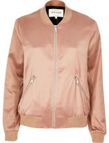 River Island Womens Pink satin bomber jacket