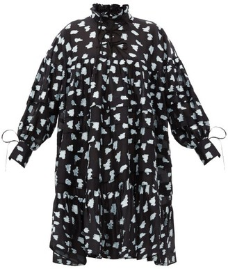 Cecilie Bahnsen Macy Oversized Pleated Rose Fil-coupe Shirt Dress - Black Multi