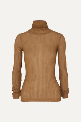 Bottega Veneta Ribbed Cotton-blend Turtleneck Sweater - Camel