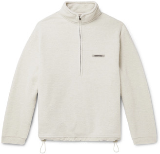 FEAR OF GOD ESSENTIALS Logo-Appliqued Fleece Half-Zip Sweater