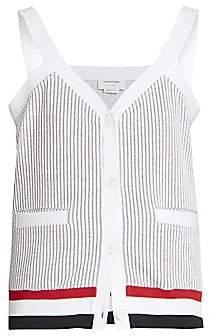 Thom Browne Women's V-neck Mixed Stripe Cardigan Tank Top
