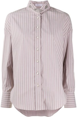 Brunello Cucinelli Striped Long-Sleeved Shirt