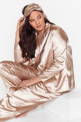 Nasty Gal Womens Plus Size 3 Piece Satin Pyjama Trousers Set - Beige - 22