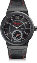 Salvatore Ferragamo F-80 Motion Black IP Stainless Steel Men's Watch w/Black Croco Embossed and Rubber Strap