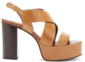 See by Chloe Cross-strap Smooth Leather Platform Sandals - Womens - Tan