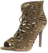 Qupid Womens Katana Faux Suede Lace-Up Dress Sandals