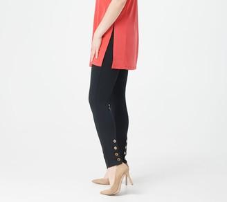 Susan Graver Regular Weekend Premium Stretch Leggings with Button Detail