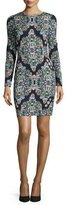 Nicole Miller Long-Sleeve Crystal-Print Sheath Dress