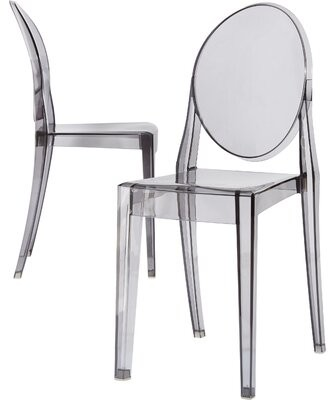 Kartell Ghost Victoria Stacking Patio Dining Chair (Set of 2 Color: Transparent Crystal Clear