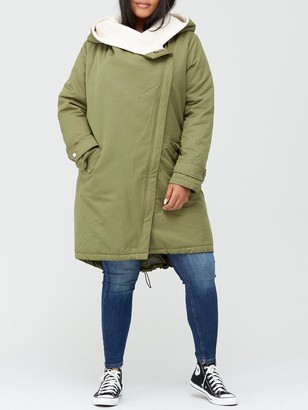 V By Very Curve Waterfall Faux Fur Lined Parka - Khaki