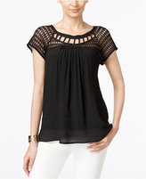 NY Collection Lace-Trim Lattice-Neck Top