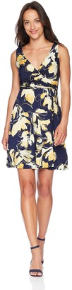 Tiana B T I A N A B. Women's Petite Printed Faux wrap Dress