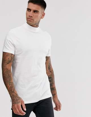Asos Design DESIGN organic jersey turtle neck in white