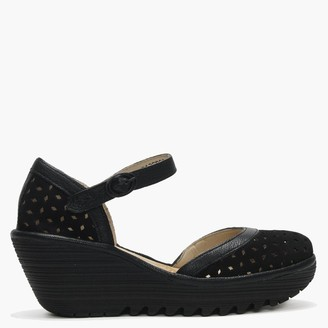 Fly London Yven Black Suede & Leather Perforated Wedge Shoes