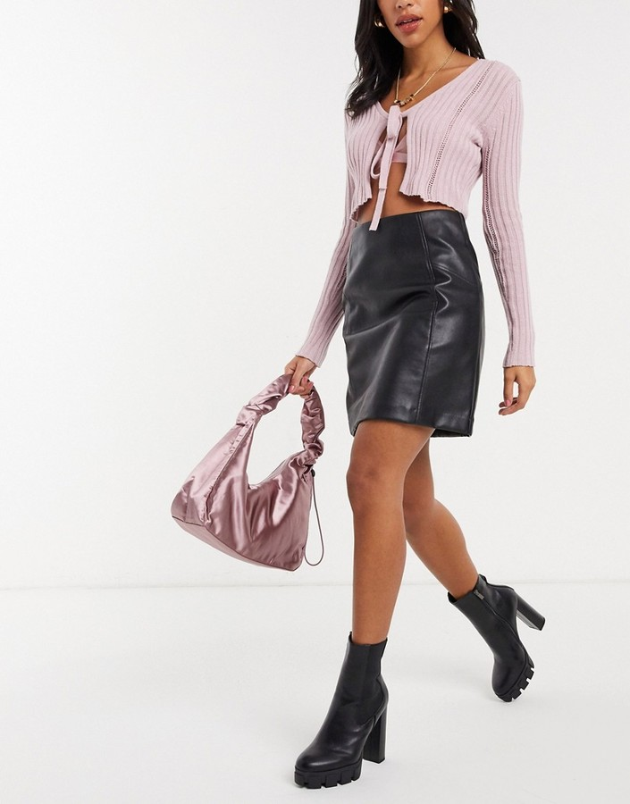 Thumbnail for your product : New Look leather look mini skirt in black