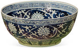 One Kings Lane 16 Lily Bowl, Blue/White