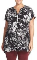 Sejour Plus Size Women's Crepe Georgette Henley Tunic