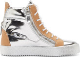 Giuseppe Zanotti Silver & Beige Leather May London Wedge Sneakers