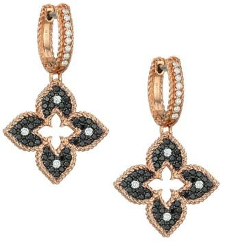 Roberto Coin Petite Venetian 18K Rose Gold, Black & White Diamond Drop Earrings