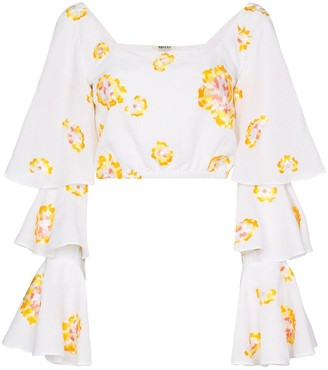 All Things Mochi Bonita floral-embroidered ruffled blouse