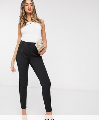 Y.A.S Tall tailored pants with elasticated waist in black