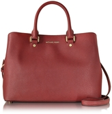 Michael Kors Savanna Cherry Red Saffiano Leather Large Satchel Bag