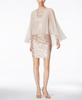Alex Evenings Petite Sequined Chiffon Cape Dress