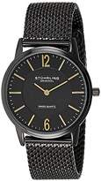 Stuhrling Original Classic Somerset Elite Men's Quartz Watch with Black Dial Analogue Display and Black Stainless Steel Bracelet 122.33551