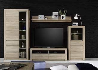 Camilla And Marc Furnline Living Room Furniture TV Stand Wall Unit with 4 Glass Shelves, Sevilla Canadian Oak, Brown, 318 x 200 x 48 cm