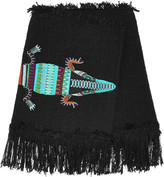 MSGM Fringed embroidered cotton-blend tweed mini skirt