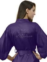 SIORO Personalized Satin Robes Bridal Wedding Party Pajamas Night Gowns for Mother of the Groom, Lilac, L //ZS1604CPP10A//
