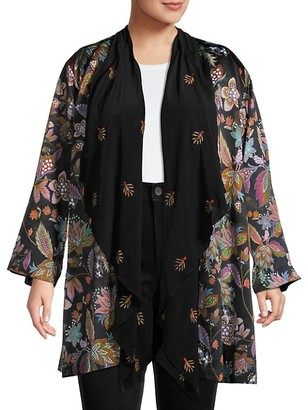 Johnny Was Plus Silk-Lined Open Floral Cardigan