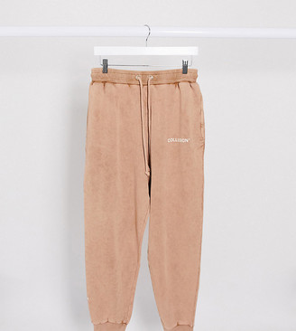 Collusion Unisex oversized joggers in washed tan
