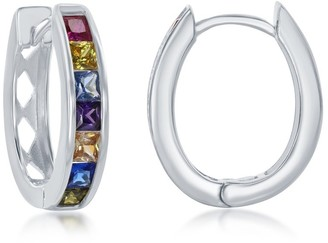 La Preciosa Sterling Silver or 14K Gold Overlay Channel-Setting CZ Oval Hoops - 22mm
