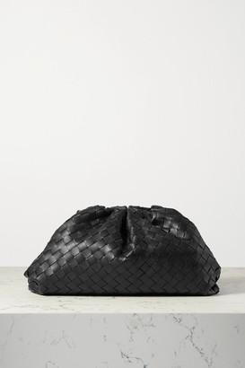Bottega Veneta The Pouch Large Gathered Intrecciato Leather Clutch - Black