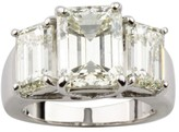 18K White Gold Emerald-Cut 3-Stone 7.66ct Diamond Engagement Ring Size 5.5