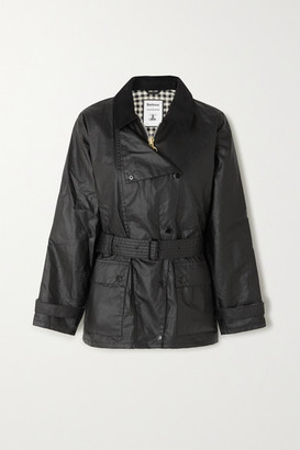 Barbour Alexachung Agatha Belted Corduroy-trimmed Waxed Cotton Jacket - Black