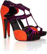 Pierre Hardy Two-tone suede and velvet sandals
