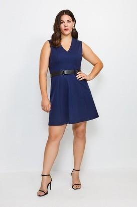 Karen Millen Curve V Neck Ponte Belt Short Sleeve Dress