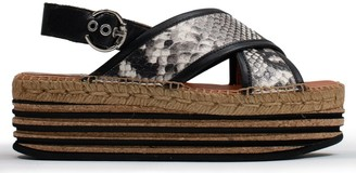 Kanna Chillingham Taupe Reptile Leather Cork Platform Sandals