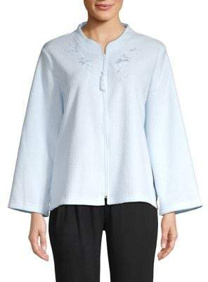 Miss Elaine Embroidered Front-Zip Bed Jacket
