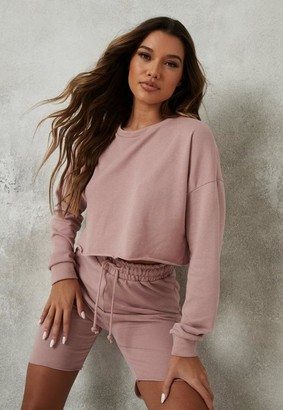 Missguided Pink Crop Sweatshirt And Drawstring Shorts Co Ord Set