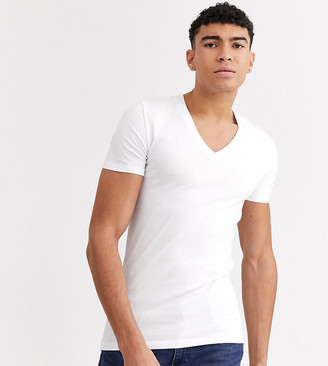 ASOS DESIGN Tall muscle fit t-shirt with deep v neck in white