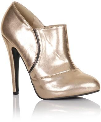 Little Mistress Footwear Gold Stiletto Heel Ankle Boots
