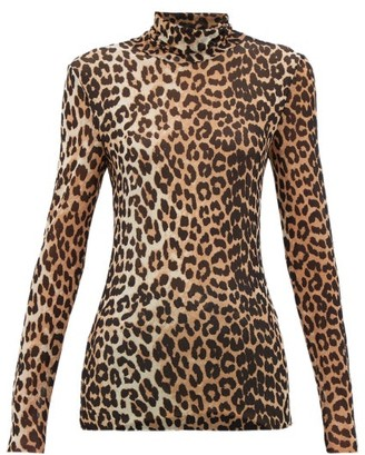 Ganni Leopard-print Roll-neck Mesh Top - Womens - Leopard