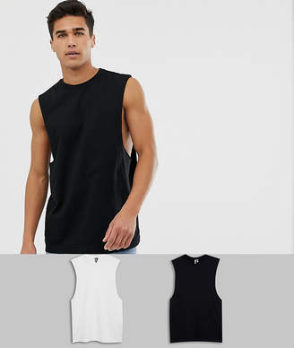 Asos Design DESIGN 2 pack organic relaxed sleeveless t-shirt with crew neck and dropped armhole save-Multi